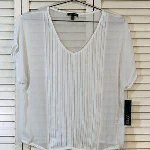 Apt. 9 Petite Large PL Sheer Pleated V Neck Blouse